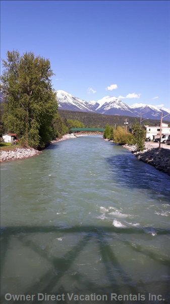 10 Minutes Away is the Kicking Horse River.  Lovely Walking Paths and Great Cycling Trails.
