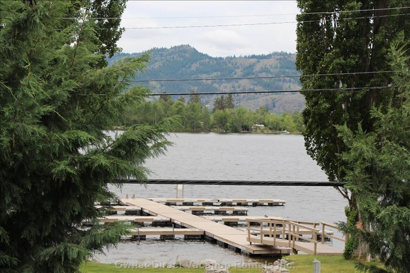 View from Upper Patio of Osoyoos Lake and Private Dock and Beach/Grass Area, Boat Moorage Available