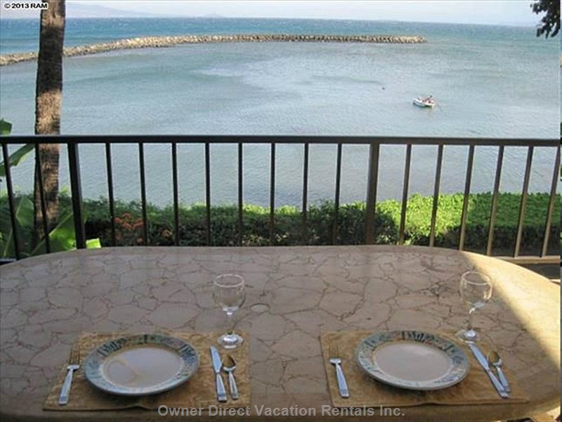 Large Dining Table on Lanai Easily Seats 6 People.