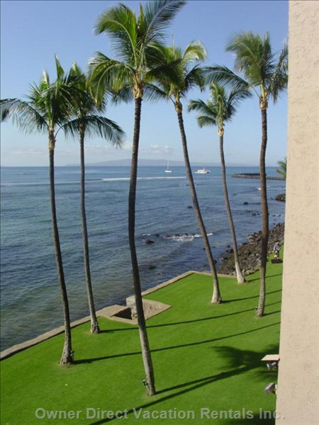 From the Lanai, View to the Right - Boats Coming and Going from Maalaea Harbor