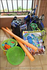 Also Plenty of Snorkel Gear, Pool and Sand Toys, Beach Chairs and Towels.