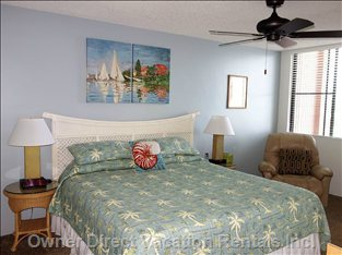 Spacious Master Bedroom with King Size Bed and Access onto Lanai.