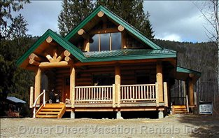 Front View: Custom Log Home - the Home is Located on Half an Acre, and has Lots of Parking Space