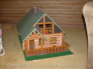Mini Log Home in the Loft, for Kids to Play with