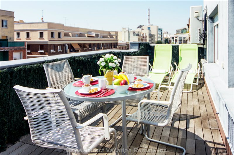 Have Breakfast, Lunch Or Dinner, Sunbathe Or Lie down to Read Quietly Watching the Spectacular Sunsets of Madrid.