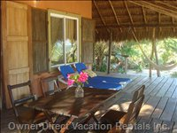 Big Shady Palapa Porch on the Beach - Dining Table, Lounge Chairs (4) and a Hammock, all for your Relaxation!