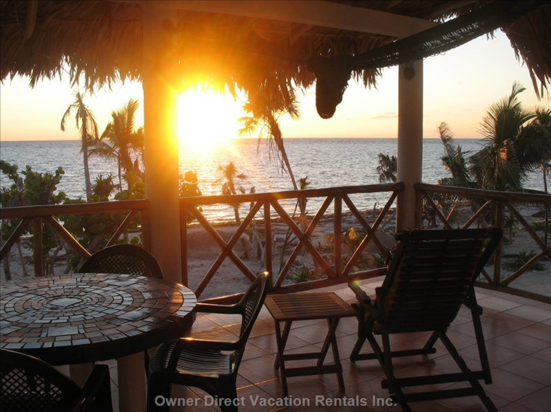 Sea-side Balcony with Table and Chairs and Hammocks. - the Sunrise over the Caribbean Sea is Spectacular and Can be Enjoyed from our Large Sea-side Balcony Almost Every Morning.