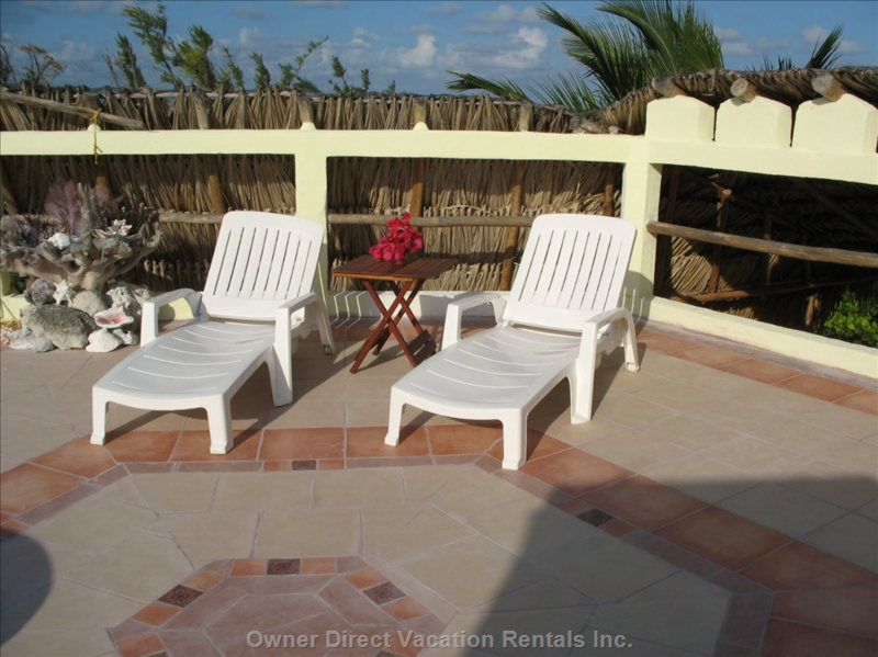 Roof-top Patio. Fully Tiled and with Lounge Chairs. - the Rooftop Patio Offers Panoramic Caribbean Views. it is Ideal for Tanning during the Day (Nude Sun-bathing Possible Here) and for Spectacular Stargazing during the Night (Hence the Name of the House).