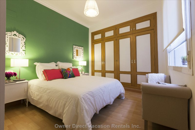 Stay in a Quiet, Spacious, Comfortable Bedroom with Plenty of Closet Space and Light. Perfect for a Good Night's Sleep.