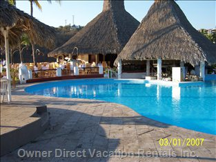 One of 3 Pools at Vida, the Deck around the Pool has a Great Vista out to the Ocean & the Bay at Vida Del Mar.