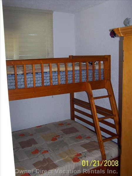 Second (Small) Bedroom with Double Bed & Bunk Bed above for a Child.
