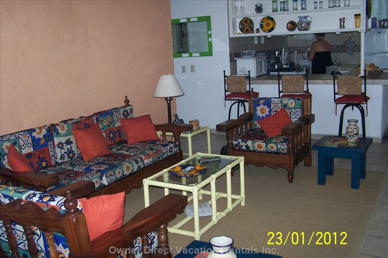 Living Room Area with the Kitchen in the Background