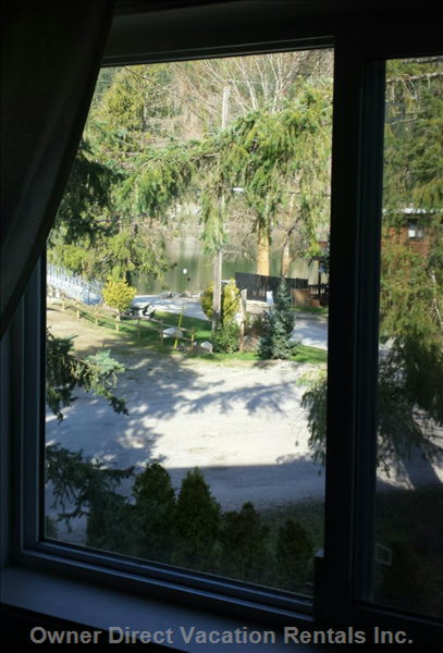 View of Mara Lake, Dock and Boat Launch from Upstairs Great Room