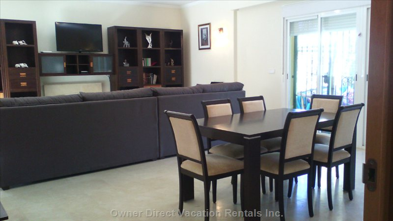 Large and Spacious Living/Dining Room with Direct Exit to Terrace and Garden.  Dining Table Sits 10 Persons.