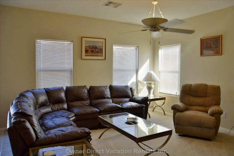 Living Room both End of Couch Recline. Separate Power Recliner