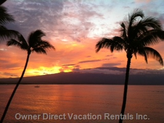 From the Lanai, View to the Left - Sunrise over Haleakala!