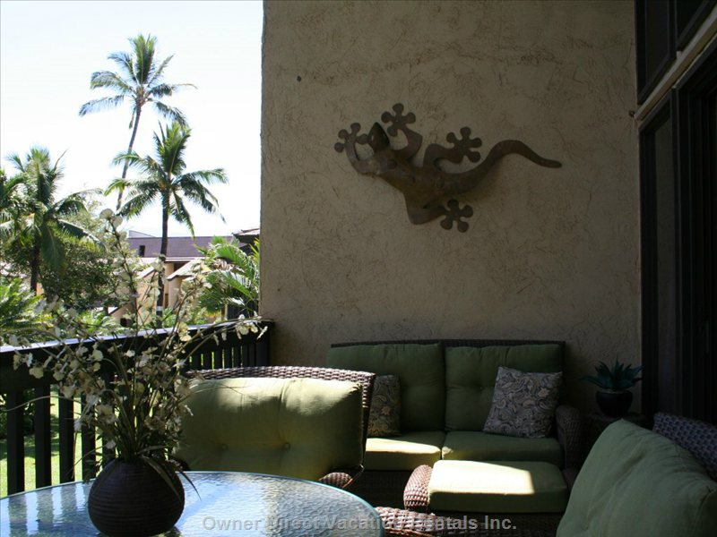 Enjoy the Lush Garden and Pool View from the Lanai
