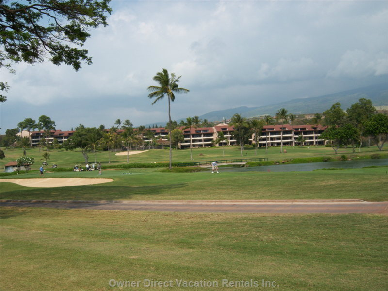 View of Ka'anapali Royal from Whalers Village Oceanfront Shopping and Dining. We are Just a 5-10 Minute Walk to Beach.
