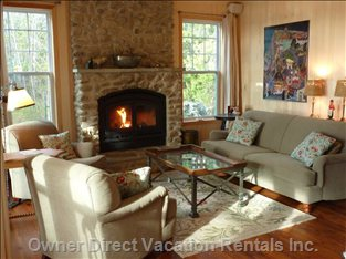 Living Room: Beachrock Wood Burning Fireplace