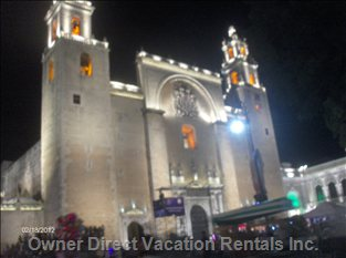 Capital City of Merida, Central Plaza Cathedral, the Oldest in N. America.Yucatan, Mexico.