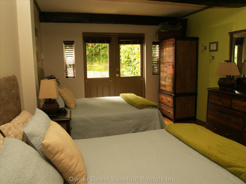 Garden Level Bedroom with 2 Double Beds with Access to the Ground Floor Bathroom