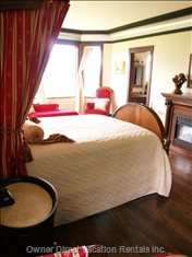 Master Suite with Queen Bed and Ensuite with Double Vanities, Suken Tub in Tower Overlooking the Views.