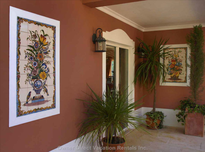Some of the many Traditional Hand Painted Tiles around the Property