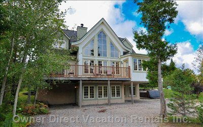 Summer at Mont-Tremblant is a Favourite for many Guests. 3 -Level Chalet with 4,250 Sq Ft. Parking for 6 Cars.