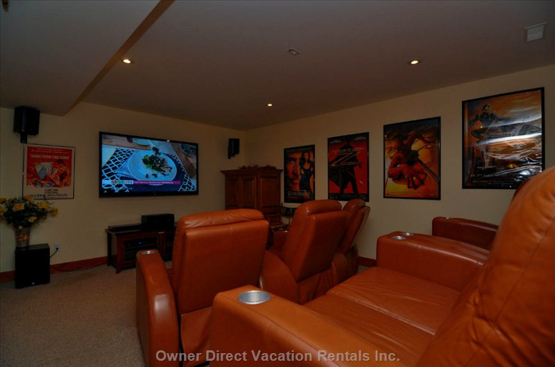"Enjoy over 700 Movies in-House on the 70"" Hdtv in the Theatre Room that Seats 7 on Leather Recliners. Apple Tv Too!"