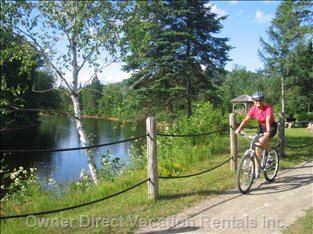 Great Biking in the Area Including over 200 KM of Trails at Le P'Tit Train Du Nord.