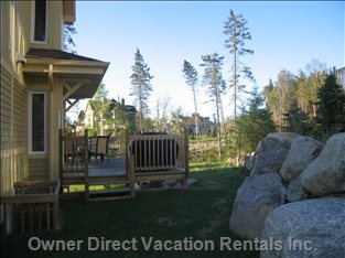 This is a Side View of our Chalet with Large Deck. Our Golf Chalet Development the Least Densely Populated in Tremblant.