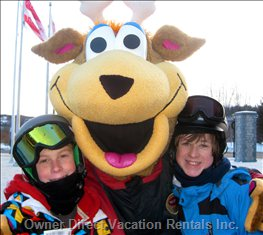 Fun with Tremblant's Mascot, Toufou, at the End of a Great Day of Skiing