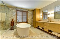 Master Spa Bathroom - Comes Complete with a Rain Shower and a Deep Soaking Tub.