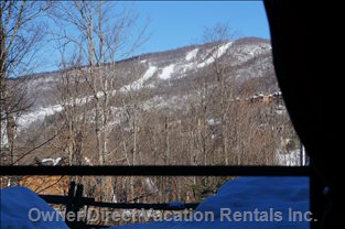 Amazing View of Tremblant Ski Runs from the Master Bedroom.
