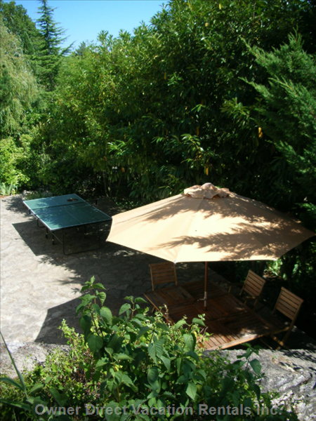 The Large Shaded Terrace with Bbq and Ping-Pong - Lit at Night