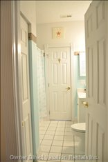 Bathroom Features Dual Entrance from Bedroom and Family Room