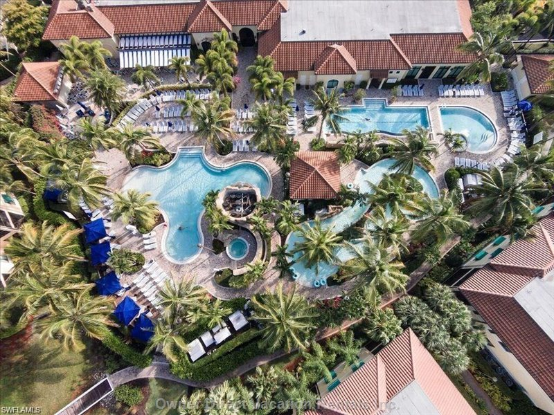 Aerial View of Resort - Swimming Pools, Lazy River, Hot Tubs, Gym, Tennis Courts, Spa, Bar & Restaurant