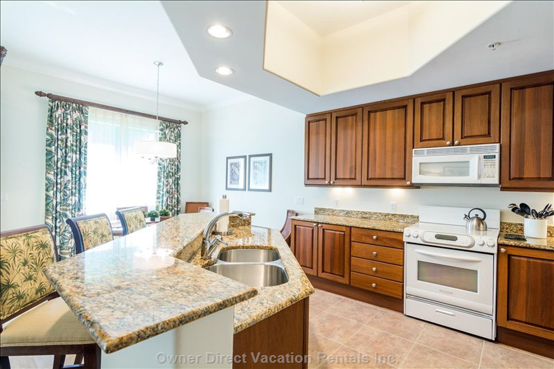 High End Kitchen - with Granite Counter Tops & many Appliances (Facing Dining Area)