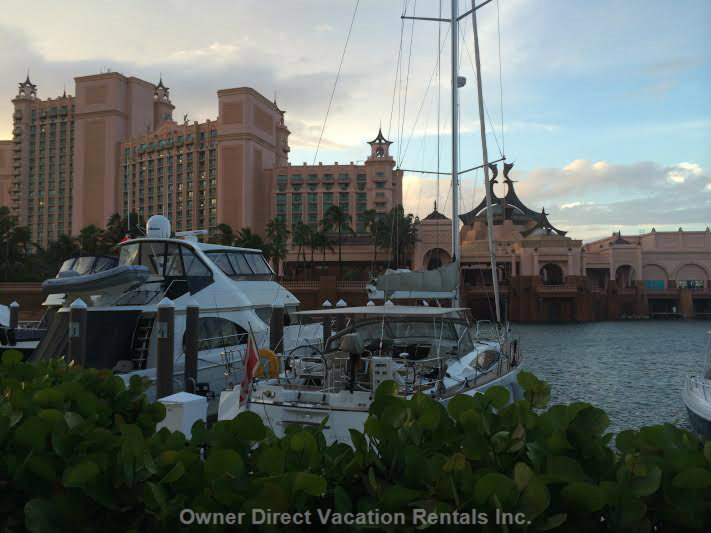 View of Atlantis Walking along Marina Village Shopping Area.