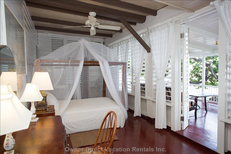 Master Bedroom Facing the Sea with Full Size Four Poster Bed