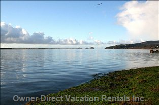 View of Netarts Bay and the Pacific Ocean from a Kayak Directly in Front of the Cottage.