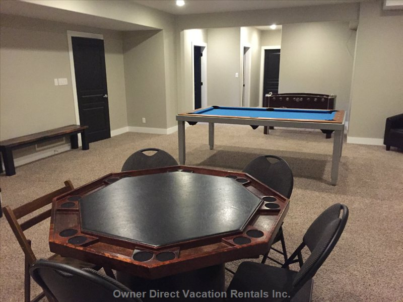 Foosball, Pool Table in Awesome Rec Room.
