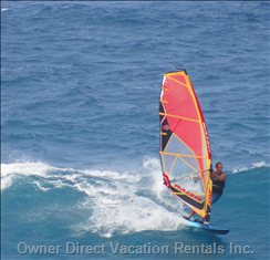 Short Drive to Hookipa Point to Windsurf, Kite Board; Or to Just Watch the Action from a Bluff above the Ocean