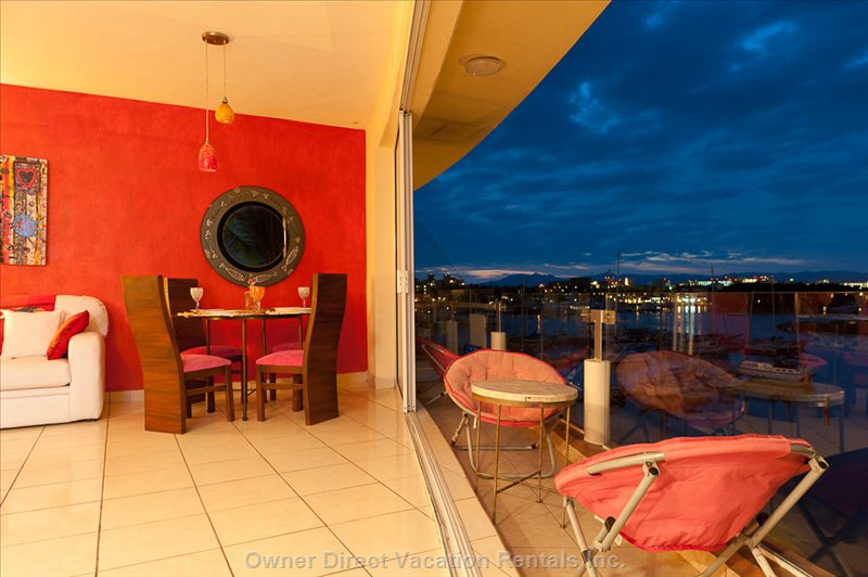 Large Patio Night Time Views off the Marina, Views are all around you in the Penthouse,