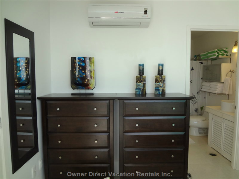 His & her Chests of Drawers / Master Bathroom - in Addition to Good Closet Space that Also has Shelving, his and her Chests of Drawers Are Very Convenient, Especially for Long month-Long Stays. in the Closet is a Golf Umbrella and a Beach Bag for Guests to Use.