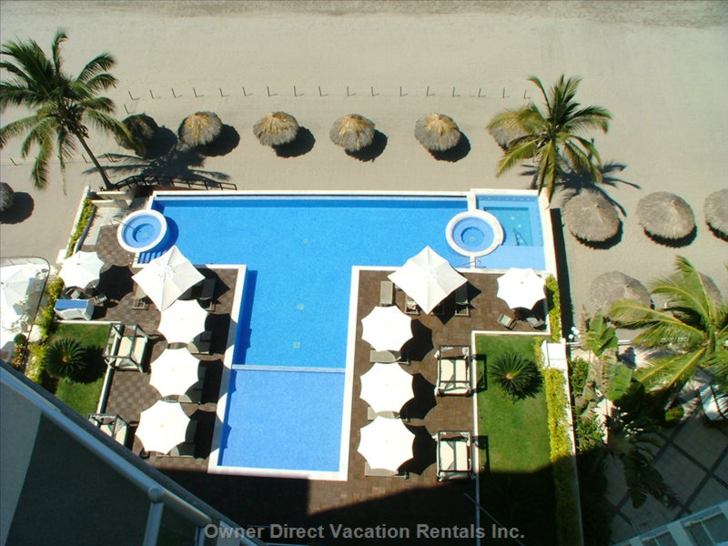 Pool and Beach View from Oceano Terrace - Area of Palapas and Roped Area are Private for Guest Use Only