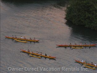 Outrigger Teams Practicing - View from the Lanai over the Ala Wai Canal
