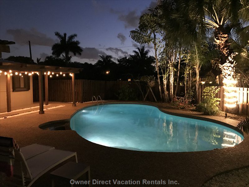 Led Lights in Pool that Change to a Multitude of Colors at Night. We Invested over $20,000 in Outdoor Ambient Lighting.