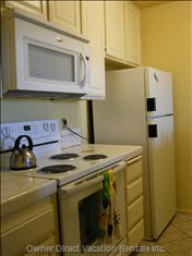 Spic and Span Kitchen with New Stove/Oven, all Cooking and Serving Untensils Supplied.