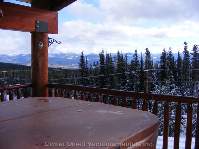 The Deck - View of the Monashee Mountains from the 6 Person Hot Tub